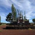 A castle made of stones at Petersen Rock Garden.- Petersen Rock Garden