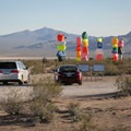 Parking adjacent to Seven Magic Mountains.- Seven Magic Mountains