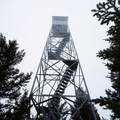 The fire tower on a foggy day.- Elmore Mountain Fire Tower
