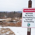 The parking area in Stowe has been known to flood.- Stowe Recreation Path