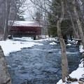 A red bridge near the end of the path.- Stowe Recreation Path