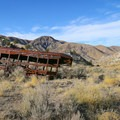 An abandoned bus lies just past the mine ruins, making you wonder if someone actually once drove a bus down this nonexistent road or if it is flash flood detritus.- Walker Warm Springs