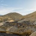 The Zabriskie Point overlook is way up ahead.- Badlands Loop Hike