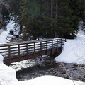 The large bridge near the trailhead.- Lower Red Pine Lake Snowshoe