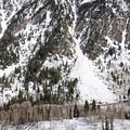 A large slide on the south-facing northern slope.- Lower Red Pine Lake Snowshoe