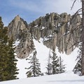 Some incredibly dynamic cliffs sit just above the trail.- Lower Red Pine Lake Snowshoe