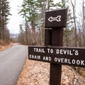 Signage along the trail.- Mount Philo