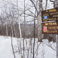 Trail intersection at the summit.- Mount Tremper