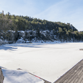 Looking across Lake Mohonk from the dock.- Skytop Tower Trail