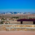 Informational signage with views over the city of Las Vegas.- Exploration Park Peak Trail