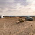 Parking area for two-wheel drive cars before the sand becomes soft nearer the dune.- Amargosa Big Dune