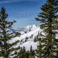 Mount Superior and Little Cottonwood Canyon from the skin track.- Mount Tuscarora: The Seagull Chute