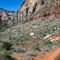 Just before entering the canyon, the trail leaves the basin and drops into the Oak Creek wash.- Oak Creek Canyon Trail