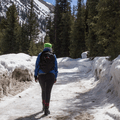 Walking along the snow-covered road.- French Gulch
