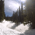 A snow-covered creek crossing.- French Gulch