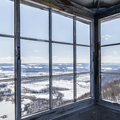 The open and windy fire tower lookout.- Stissing Fire Tower