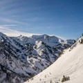 Looking toward high elevation Little Cottonwood, seen on the skin tack.- Mount Superior Backcountry Skiing