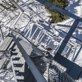 Looking down the 60-foot fire tower.- Red Hill Fire Tower