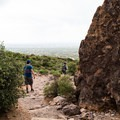Stairs help facilitate the ascent on the Siphon Draw Trail.- Flatiron Mountain via Siphon Draw