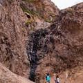 Seasonal waterfall en route to Flatiron Mountain.- Flatiron Mountain via Siphon Draw
