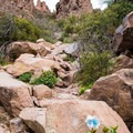 Trail makers vary from signs, cairns, to blue, red, or yellow dots on rocks.- Flatiron Mountain via Siphon Draw