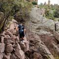 Scrambling on the trail to Flatiron Mountain.- Flatiron Mountain via Siphon Draw