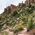 Dramatic topography is everywhere along this route.- Flatiron Mountain via Siphon Draw