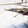 The parking area requires a steep descent.- Casey's Hill