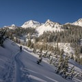 Skinning up the White Pine Trail into the basin.- Red Baldy Backcountry Skiing