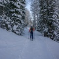 Skinning up the beginning section of trail. - Red Baldy Backcountry Skiing
