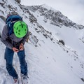 Strapping in on top of the Rock n' Roll Chute.- Red Baldy Backcountry Skiing