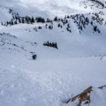 Skiing the chute.- Red Baldy Backcountry Skiing