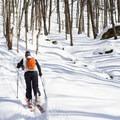 Beginning the ascent up a steep ridgeline.- Michigan Valley