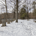 The overlook area with stone benches.- Franny Reese State Park