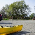 Parking lot at the entrance of the Sacramento Canal.- Sacramento Barge Canal