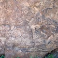 Petroglyphs carved by the first inhabitants of the Mojave.- Rings Loop Trail