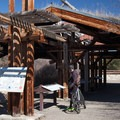 Interpretive Plaza features history and sounds of the area. The shelter features a natural sod roof!- Missouri Headwaters State Park