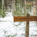 The way to the falls is clearly marked.- Thundering Brook Falls