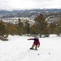 Snow skate descent down Mount Royal.- Mount Royal