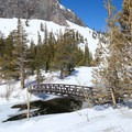 Quickly cross a footbridge over Mammoth Creek. Beyond here, you are free to follow tracks around the lake or blaze your own trail through the trees.- Twin Lakes Loop