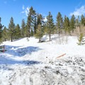 The route to the craters follows a dirt road, and skiers must share the roads with snowmobiles during the winter.- Inyo Craters