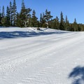 Groomed terrain may be free of skiers if you can hit it early enough.- Minaret Vista