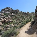 View toward the top of the initial ascent up a number of switchbacks.- Tom's Thumb