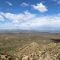 Scenic viewpoint after the first few switchbacks overlooking the MdDowell Mountains and surrounding desert area.- Tom's Thumb