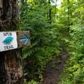 Spur trail sign leading you toward White Sky Rock.- White Sky Rock