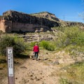 Taking the trail down to the creek.- Burro Creek Campground