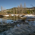 Melting snow creates a plethora of small ponds and creeks in the Provo River floodplain.- Pine Valley Snowshoeing