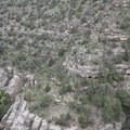 The same Native American dwellings from the previous picture, zoomed out.- Walnut Canyon National Monument