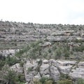 If one looks close, numerous Native American structures can be seen across Walnut Canyon. This picture is from the Island Trail looking east.- Walnut Canyon National Monument
