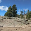 Plenty of large flat rocks at the summit of Evergreen Mountain. Perfect to recline and have a snack at the top- Alderfer/Three Sisters Park Loop